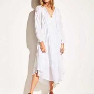 Vince • shirred seamed cotton midi dress